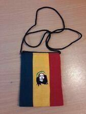 BOB Marley Shoulder Sling carry Bag Wallets Reggae Rasta cotton PURSE Zipper vtg