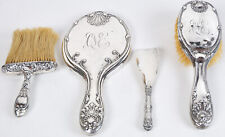Whiting Sterling Silver Brush Mirror Crumb Whisk Broom Vanity Set Mauser Chased