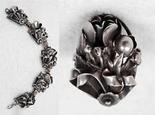Fine Vtg Sterling Art Deco Nouveau & Arts & Crafts Handmade Bracelet & Ring Set