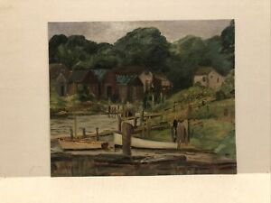 "American school oil circa 1920s ""Fishing shacks along the river """
