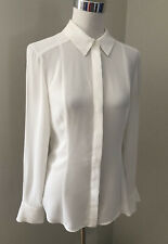 Ladies CUE Cream Sheer Button Up Shirt. Size 6. GUC