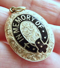Georgian 9ct gold and Enamel Mourning Pendant-