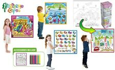 Kids Fantastic Washable Coloring Play Mat with 12 Washable Markers