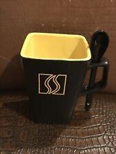 DISARONNO STONEWARE SQUARE COFFEE MUG / CUP BLACK & Yellow GEO DESIGN WITH SPOON