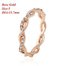 Women's Fashion Twisted Rhinestone Ring 14K Solid Rose Gold Stack Size 5-10