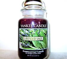 """Yankee Candle Retired """"Lavender Sage""""~Floral~Large 22 oz.~White Label~Rare~New"""