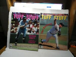 2 TUFF STUFF CARD MAGAZINES GEORGE BRETT JUNE 1991 & ROGER CLEMENS JULY 1991
