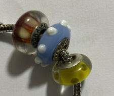 3 Authentic Pandora 2 Murano & Other Glass Charms