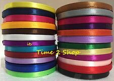 24 x 6mm 12 Yards Satin Ribbon Rolls ( 10 M Approx ) Most Vibrant Solid Colours