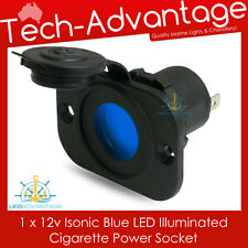12V~24V FLUSH MOUNT BLUE LED ILLUMINATED POWER SOCKET PLUG - BOAT/MARINE/CARAVAN