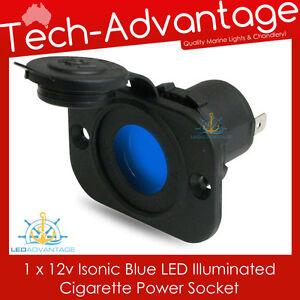 12v Cigarette Power Socket - Blue LED - Recessed Flush Mount - Boat Caravan Car