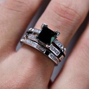 2.56Ct Princess Cut Black Diamond Bridal Engagement Ring 14K White Gold Finish