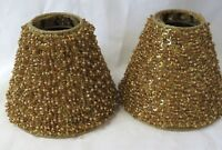 """Pair of Small Gold Lampshades Shades Beaded Sequin 4.5"""""""
