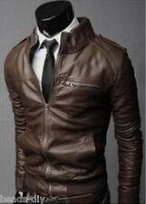 Cool Men Zipper Slim PU Leather Bomber Coat Blazer Motorcycle Jacket Outwear GW
