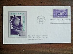 1939 BASEBALL CENTENNIAL COOPERSTOWN, NY FIRST DAY COVER-6/12/1939