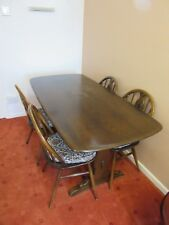 Vintage Ercol Plank Top Rectory Style Dark Oak Dining Table & 4 Chairs