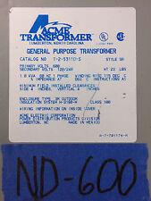 ACME 1.0kva transformer 1 one single phase 600v-120v/240v  575v 50 45 100