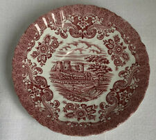 Vintage Red England Saucer Olde Country Castles Hostess Tableware England