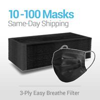 10/50/100 Black Disposable Face Masks 3 Ply Non Medical