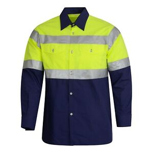 Hi Viz visibility Shirt Workwear Long Sleeve Reflective Tape mfg in spain