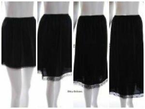 Ladies black anti static waist half slip underskirt petticoat various lengths