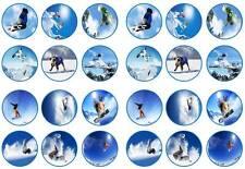 24 Snowboard Snowboard Ski Nieve Bollo Cupcake Toppers parte comestible de papel
