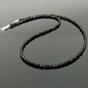 4.00MM Black Round Diamond Beads Necklace For Women Sterling Silver 925 18.00''