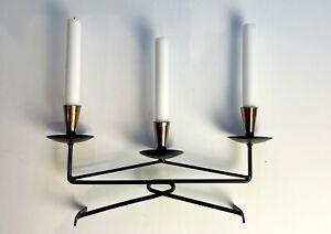 Vintage Wrought Iron & Copper Black Metal Candelabra Candlestick Candle Holder