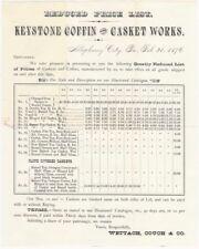 1876 Reduced Price Coffins Single-Sheet Handbill @ Allegheny City, Pennsylvania
