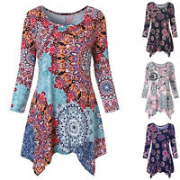 Women Print Summer Blouse Swing Tunic Holiday Ladies Long T-shirt Tops Plus Size