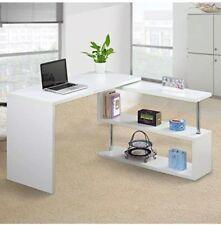 Executive Office White Desk Computer PC Table Home Corner Study Unit
