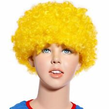 80s Curly Afro Wig Party Clown Funky Disco Kids Childs Adult Costume Yellow Hair