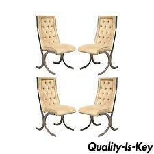 4 Vintage Mid Century Modern Chrome X-Form Tufted Dining Chairs Milo Baughman Er