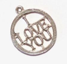 Vintage  I LOVE YOU Medallion Sterling Silver Bracelet Charm / Detailed