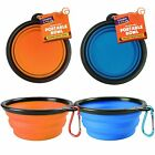 2pk+Collapsible+Dog+Cat+Pet+Bowls+Food+Water+Feeding+Silicone+Portable+Travel+