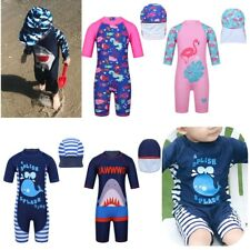 Kids Swimwear Boys Girls Swimming Costume Tankini Set Swimsuit Bathing Suit+Cap
