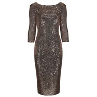 Stunning Rose Gold Sequin 3/4 Sleeve Bodycon Pencil Wiggle Party Dress UK 8-18