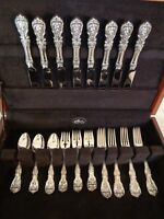REED & BARTON FRANCIS I STERLING SILVER FLATWARE SET 32pcs FOR 8 WITH CHEST N M