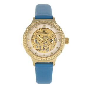 Empress EMPEM3204 Alice Automatic MOP Skeleton Dial Leather-Band Watch, Blue