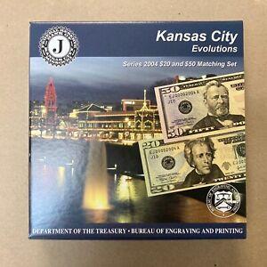 FRN 2004 Series 2004 USA BEP Kansas City Evolutions $20 & $50 Matching Set MINT