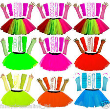 NEW GIRL'S SEXY NEON TUTU SKIRT LEG WARMERS GLOVES BEAD GUMMY BANGLE PARTY SET