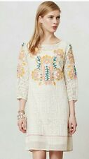ANTHROPOLOGIE VINEET BAHL EMBROIDERED Dress, Ivory, Orange, Pink, Green, Size S