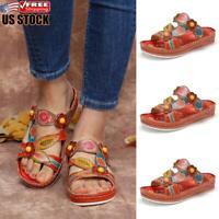 Women's Casual Flat Sandals Slippers Ladies Vitange Flip Flops Mules Shoes Size