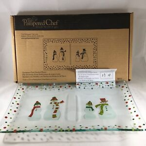 Pampered Chef Snowmen-Dots Divided Glass Platter #3012