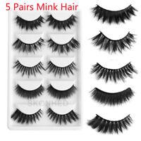 Pro 5Pairs 100% Mink Hair Long Thickening False Eyelashes Lashes Makeup Extend~-