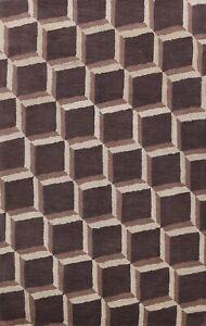 Dark Brown Contemporary Trellis Oriental Area Rug Hand-Tufted Wool 5x8 ft Carpet