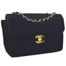 170a23db20379a Auth CHANEL V-stitch Jumbo CC Double Chain Shoulder Bag Black Velvet GHW  V31440