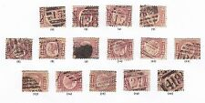 1870 1/2d ROSE RED SG48/9 SET OF 15 PLATES 1 - 20 ( INC PLATE 9 ) GOOD/NICE USED