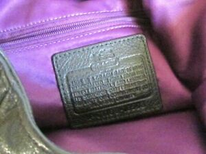 Coach Madison Maggie Black Leather Silver Hardware Purple Liner No G1168-16503