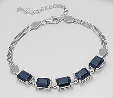 "8.5"" Solid Sterling Silver 6mm Genuine Natural Dark Blue Sapphire Bracelet 7.7g"